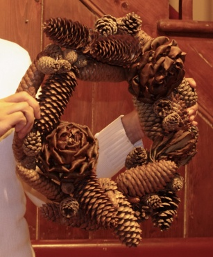 2 CONE WREATH with artichoke roses