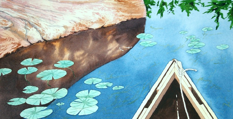 Bow to the Lilypads among the islands of Massasauga Provincial Park, Georgian Bay watercolour on paper