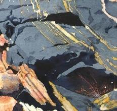 Edge bleed shaping rock, grass whisps- Toni's Jubilee