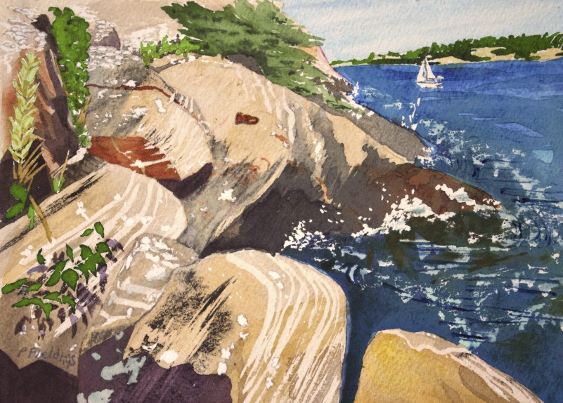 C1- Killbear Park - Iron Ring - set into bedrock on the shore - watercolour on paper Pamela Fielding