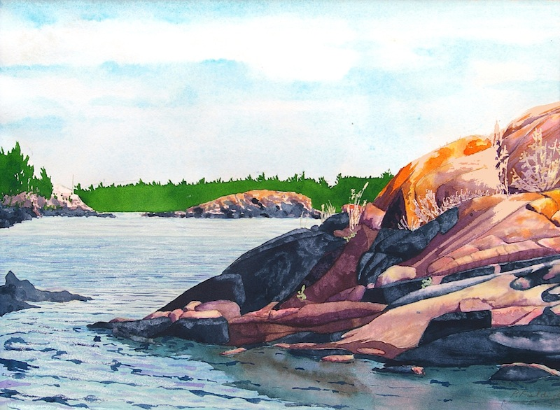 Red Lichen Island II passage to the great water, near Jubilee Island, Township of the Archipelago, Georgian Bay watercolour on paper