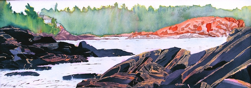 Red Lichen Island I passage to the great water, near Jubilee Island, Township of the Archipelago, Georgian Bay watercolour on paper