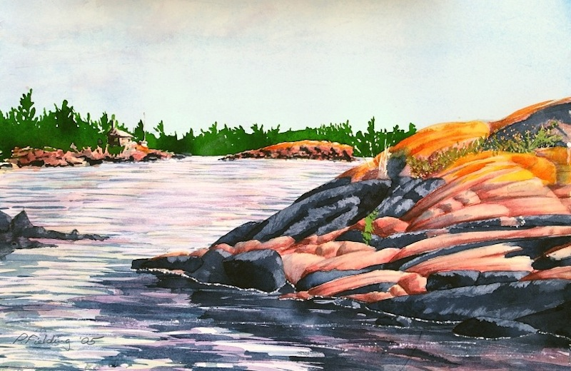 Red Lichen Island IV passage to the great water, near Jubilee Island, Township of the Archipelago, Georgian Bay watercolour on paper