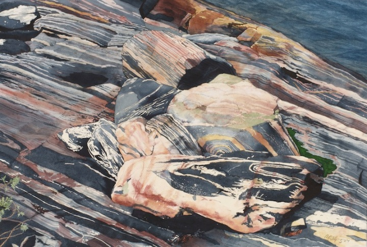 Ribbons rocky shore of Jubilee Island Township of the Archipelago, Georgian Bay watercolour on paper